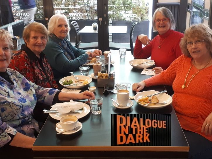 "Lunch after a great outing to ""Dialogue in the Dark"" - a sensory journey set in total darkness.  It was an incredible experience where we stepped out of our comfort zone and took on the challenges of a bustling, simulated Melbourne in the dark."