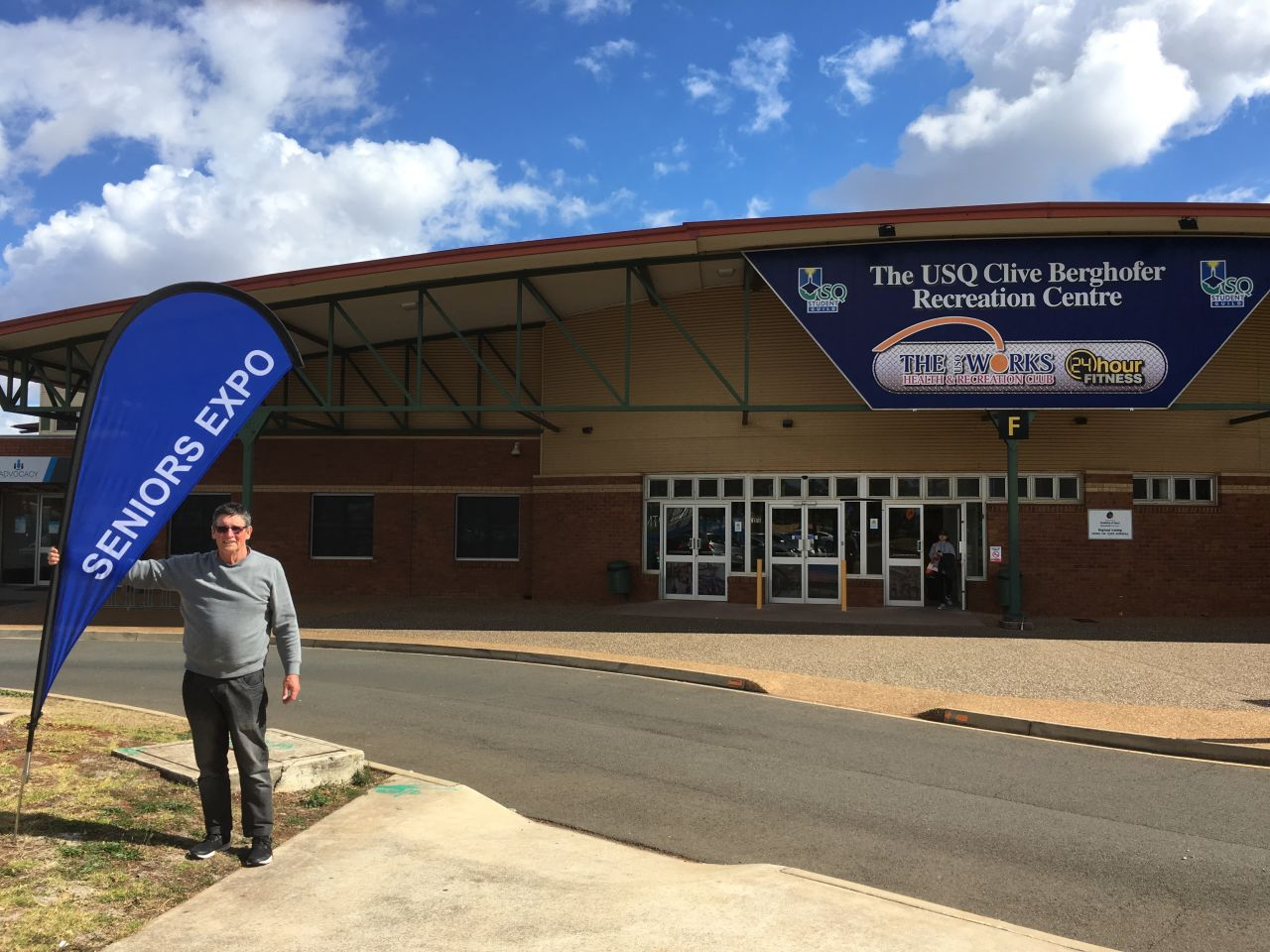 Member Bob Campbell preparing for the seniors expo held at the Clive  Berghofer Recreation Centre on 22nd August.