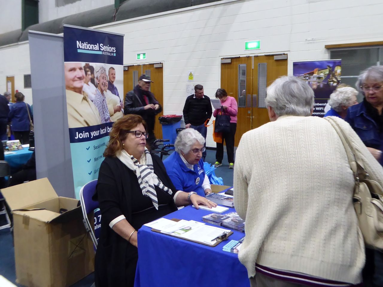 Sandra Philpott(GM Membership and Strategic Partnerships)   and Hazel Gillies (President Garden City Branch) on the NSA stand at the Seniors Expo