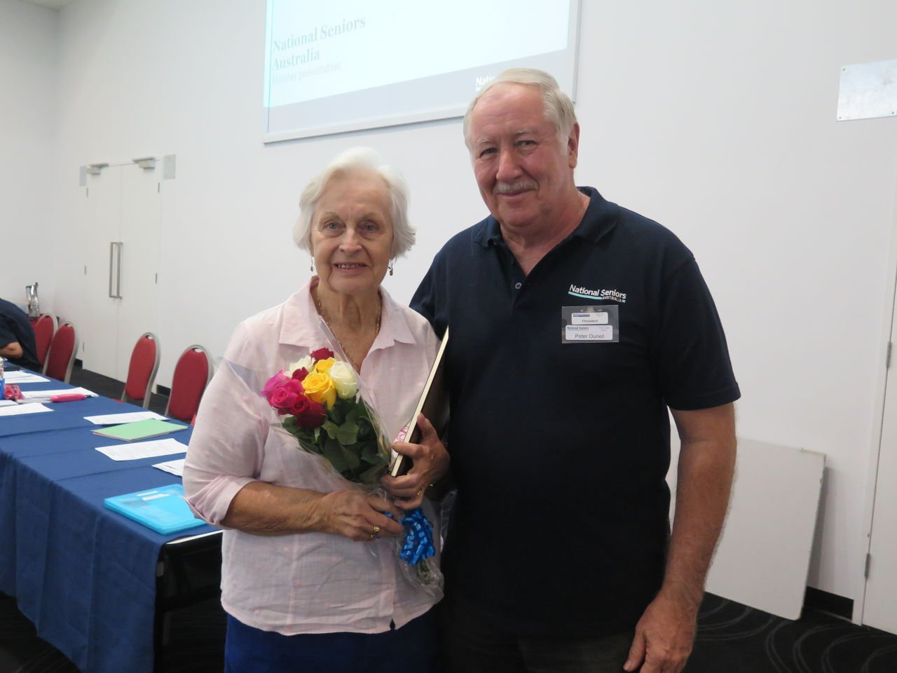 Retiring Chair Policy Advisory Group, Vera Somerwil & Branch President Peter Dunell